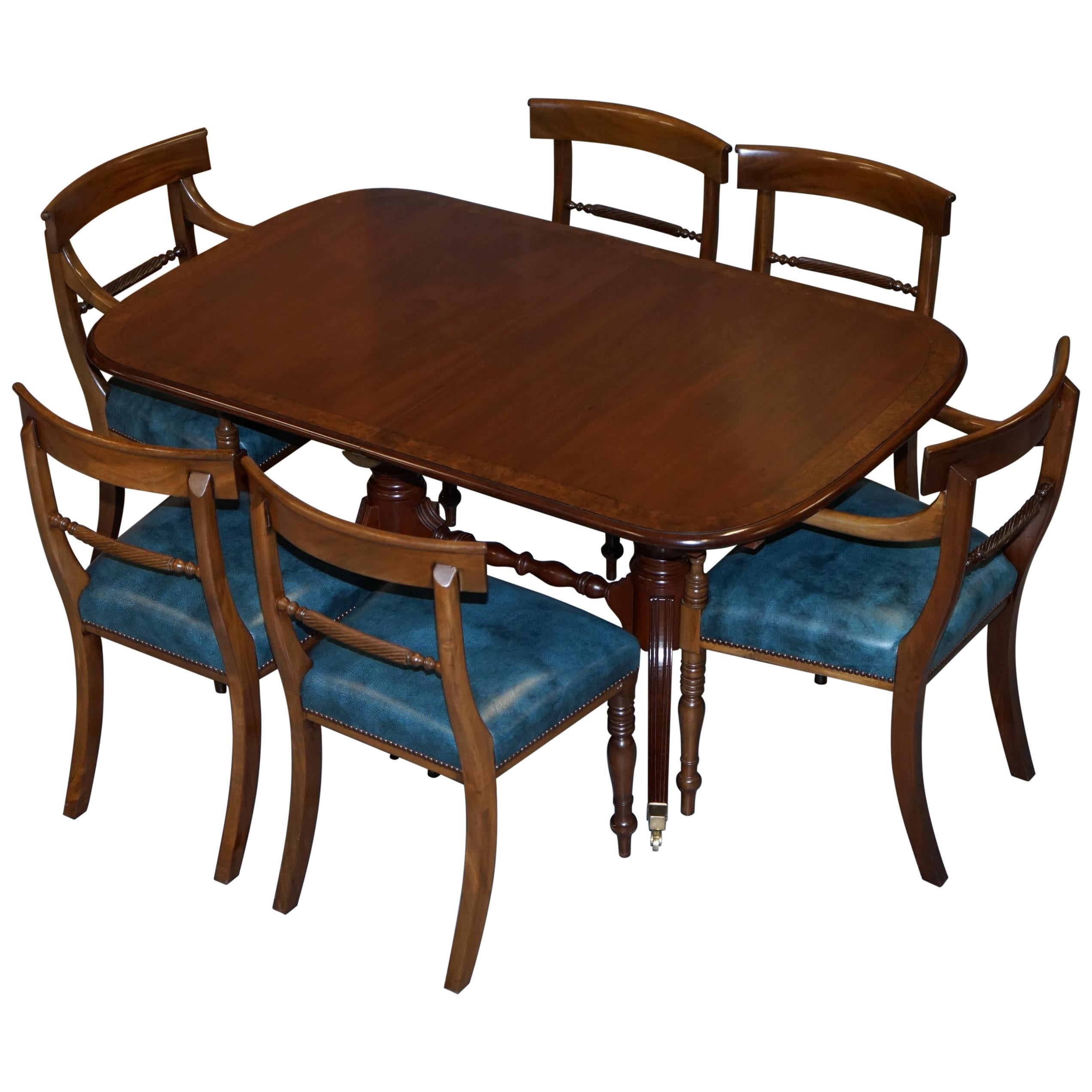 Brights of Nettlebed Burr Walnut Regency Extending Dining Table Chairs