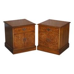 Brights of Nettlebed Pair of Burr & Burl Walnut & Elm Side, Lamp, Bedside Tables