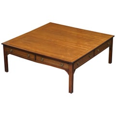 Brights of Nettlebed Very Large Four-Sided Coffee Table in Mahogany