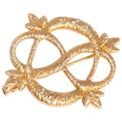 Brigitte Adolph 18 Karat Yellow Gold Diamond Infinity Brooch Pendant