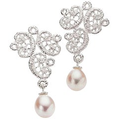 Brigitte Adolph Sterling Silver Fresh Water Pearl Figaro Stud Earrings