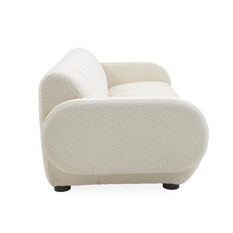Modern Brigitte Channeled Sofa in Ivory Bouclé For Sale