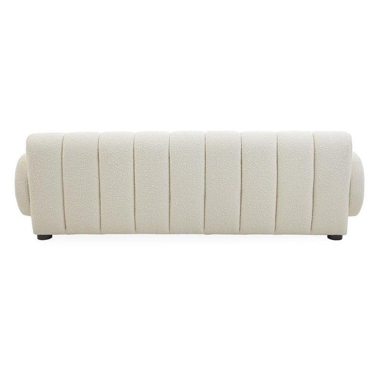 American Brigitte Channeled Sofa in Ivory Bouclé For Sale