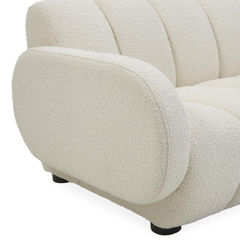 Brigitte Channeled Sofa in Ivory Bouclé In New Condition For Sale In New York, NY