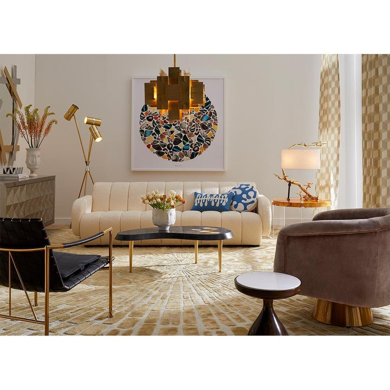 Contemporary Brigitte Channeled Sofa in Ivory Bouclé For Sale