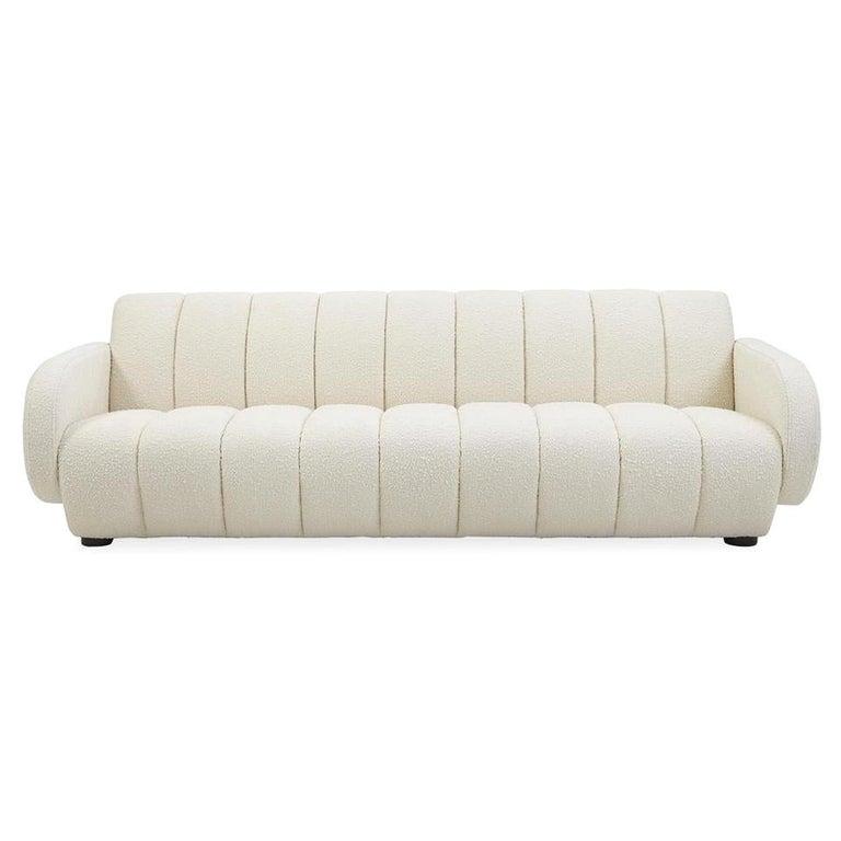 Brigitte Channeled Sofa in Ivory Bouclé For Sale