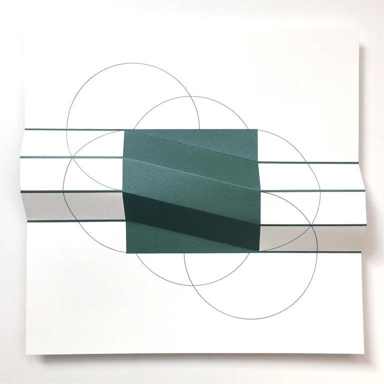 Brigitte Parusel, Spatial Hybrid 3, 2018, Folded Screenprint, Minimalism - Gray Abstract Print by Brigitte Parusel
