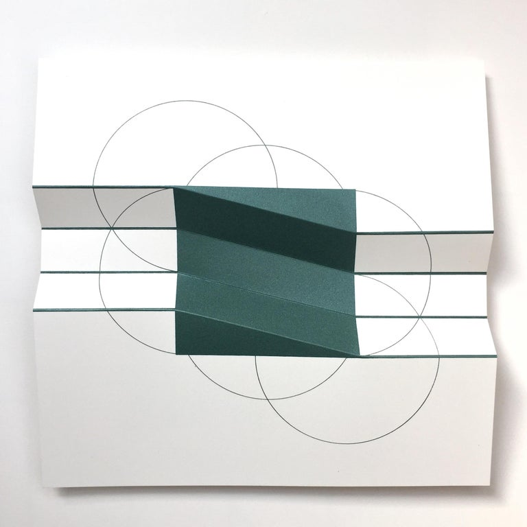 Brigitte Parusel, Spatial Hybrid_Convex 1, 2018, Folded Screenprint, Minimalism - Gray Abstract Print by Brigitte Parusel