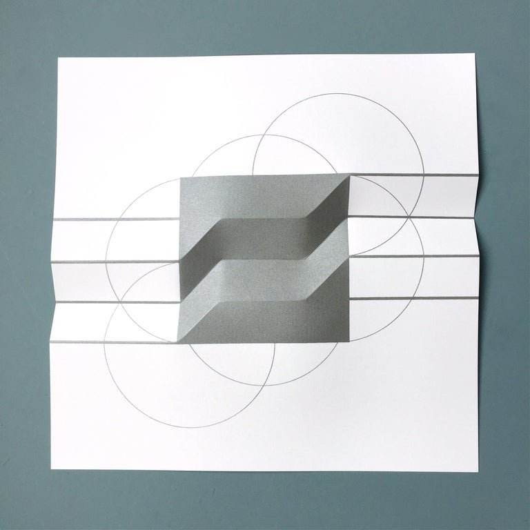 Brigitte Parusel, Spatial Hybrid_Convex 1, 2018, Folded Screenprint, Minimalism For Sale 1