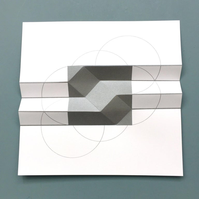 Brigitte Parusel, Spatial Hybrid_Convex 1, 2018, Folded Screenprint, Minimalism For Sale 2