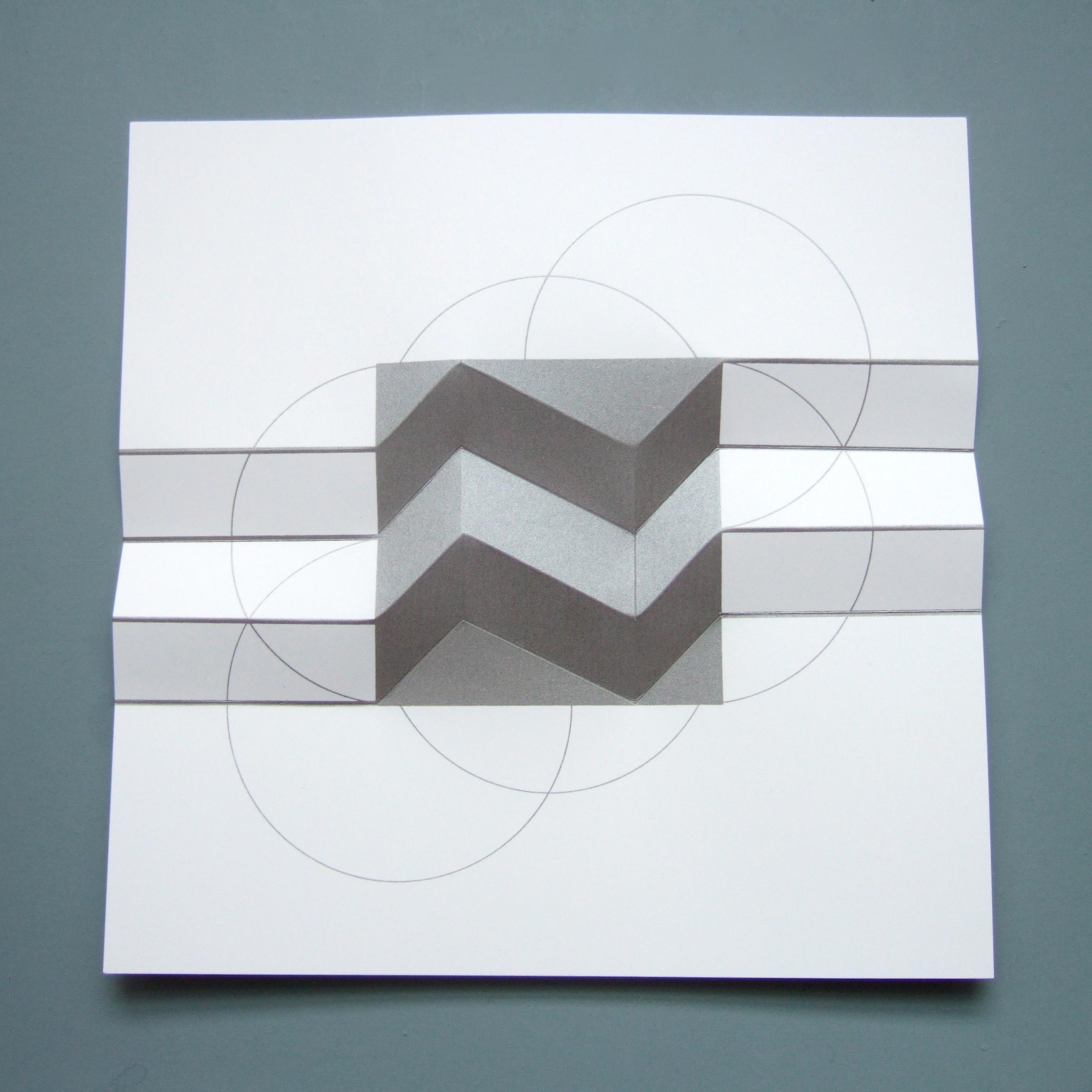 Brigitte Parusel,Spatial Hybrid  5, 2018, FoldedScreenprint_Minimalism