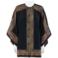 BRIJO c.1970s Silk Button Front Cold Shoulder Handkerchief Tunic Blouse Top
