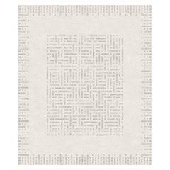 Brillante, Beige Geometric Hand-Knotted Wool Blend-silk Rug