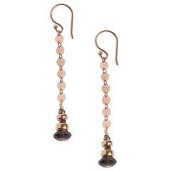 Brilliance Smoky Quartz Rose Gold Drop Earrings