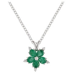Brilliant 14 Karat White Gold, Diamond and Emerald Flower Pendant