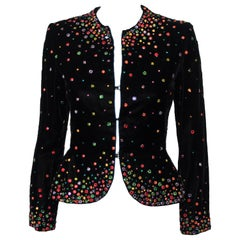 Brilliant Bill Blass Vintage Black Velvet Jacket Decorated Multi Color Crystals