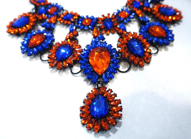 Brilliant Blue & Orange Color Crystal Bib Necklace In Good Condition For Sale In New York, NY