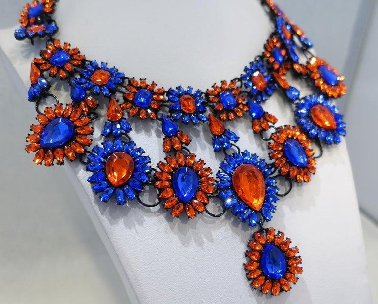 Women's Brilliant Blue & Orange Color Crystal Bib Necklace For Sale
