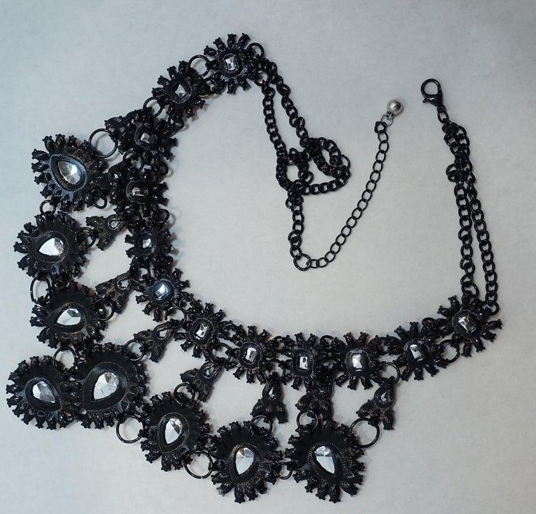 Brilliant Blue & Orange Color Crystal Bib Necklace For Sale 1