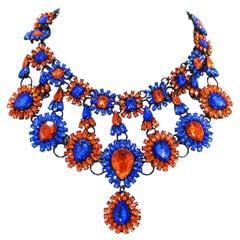 Brilliant Blue & Orange Color Crystal Bib Necklace