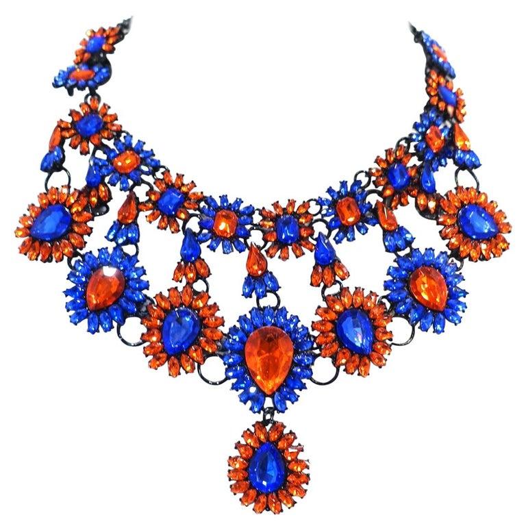 Brilliant Blue & Orange Color Crystal Bib Necklace For Sale