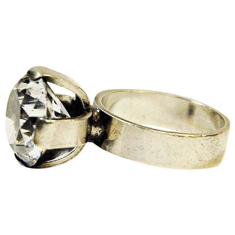 Brilliant Cut Crystal Stone Silver Ring, Ceson Guldvare, Gothenburg Sweden, 1967