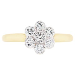 Brilliant Cut Diamond 18 Carat Gold Flower Cluster Engagement Ring