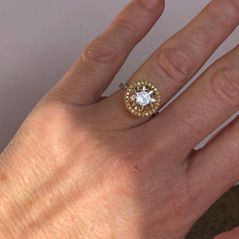 Brilliant Cut Diamond Solitaire Fancy Yellow Diamond Halo 18 Karat 4.00 Carat A For Sale 14