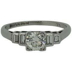 Brilliant Cut Diamond Solitaire Ring 0.75 Carat Platinum 18 Karat Gold