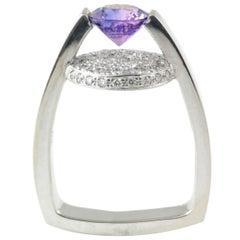Brilliant Cut Purple Sapphire Diamonds 14 Karat White Gold Stylish Cocktail Ring