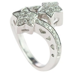 Brilliant Diamond 18 Karat Gold Bypass Spiral Cluster Modern Handmade Star Ring