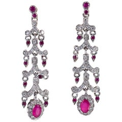 Brilliant Drop Earrings and Oval Rubies