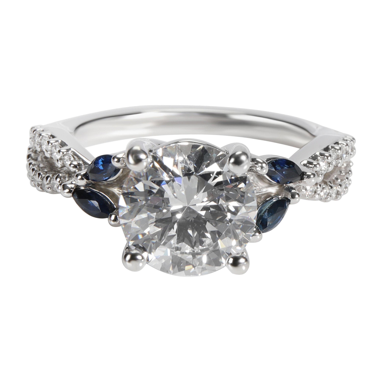 Brilliant Earth Diamond & Sapphire Platinum Engagement Ring GIA D VVS1 2.20 CTW