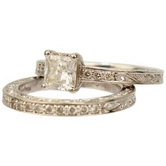 Brilliant Earth GIA Certified 18 Karat Gold and Diamond Ring and Matching Band