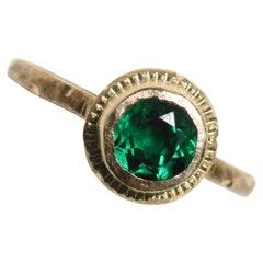 Brilliant Emerald and Diamond 14k Gold Ring by Franny E