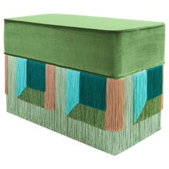 Brilliant Green Couture Geometric Flo Rectangular Pouf