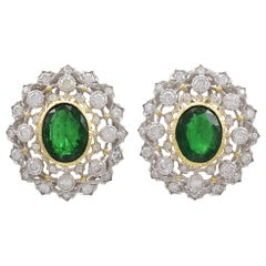 Brilliant Mario Buccellati Emerald and Diamond Ear Clips