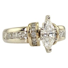 Brilliant Marquise and Round Diamond Two-Tone Ring 1.32 Carat Total Weight