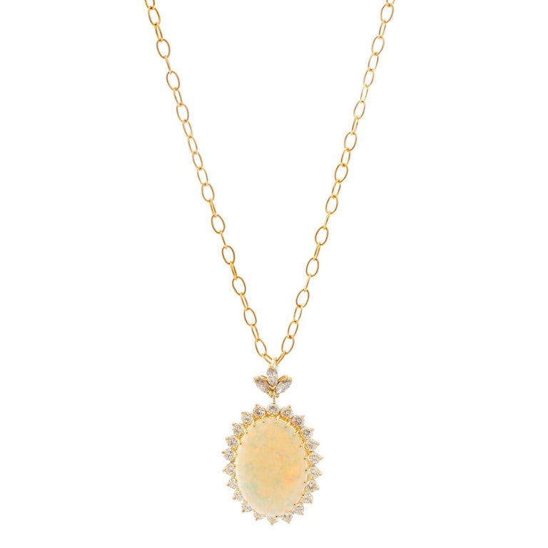 Brilliant Opal and Diamond Yellow Gold Pendant and Necklace For Sale
