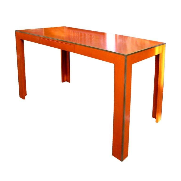 American Brilliant Orange Lacquer Desk For Sale