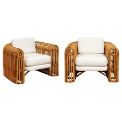 Brilliant Pair of Rattan and Cane Rib Series Club Chairs by Henry Olko, 1978