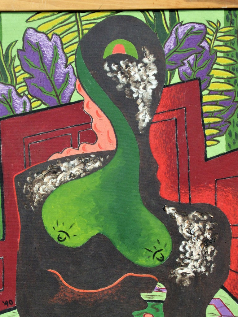 Brilliant jewel tone oil painting on canvas of an abstracted nude woman surrounded by exotic looking foliage & more by Leon Salter aka Zoute ( 1903 - 1976, North Rose NY ) Pictures tell the rest of the story. This is a show stopper. Biographical