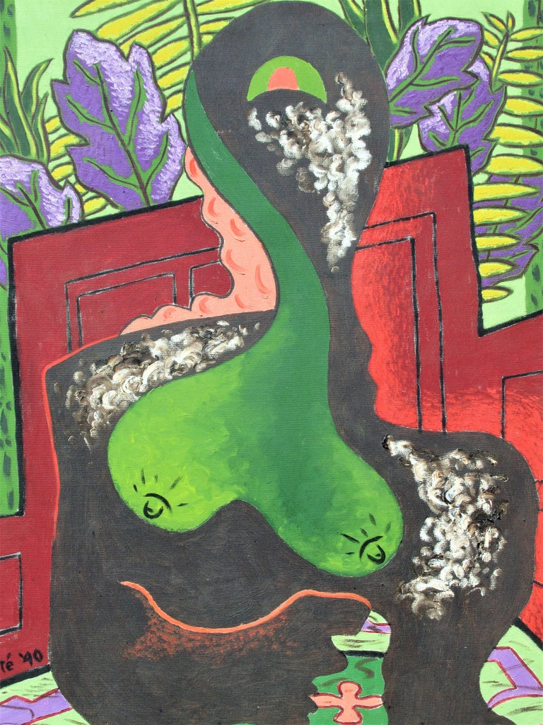 American Brilliant  Expressionist Painting, Nude Woman by Zoute, 1940 For Sale