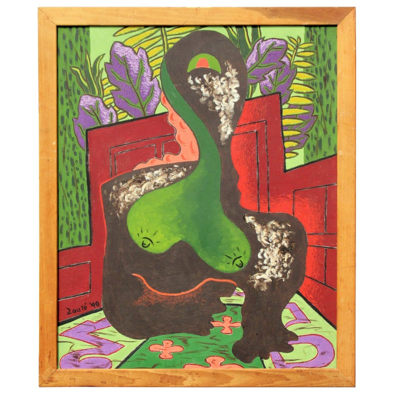 Brilliant  Expressionist Painting, Nude Woman by Zoute, 1940 For Sale