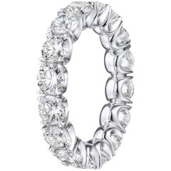 Brilliant Round 4.28 Carat Diamond Wedding Eternity Band Set in White Gold