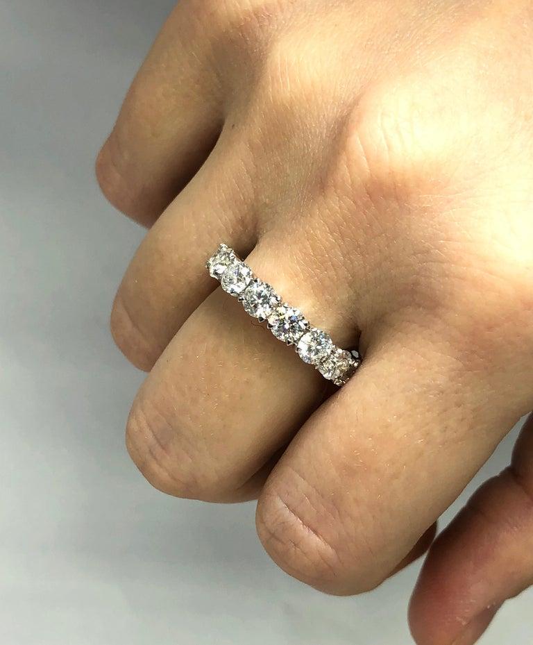 Round Cut Brilliant Round 4.45 Carat Diamond Wedding Eternity Band Set in Platinum For Sale
