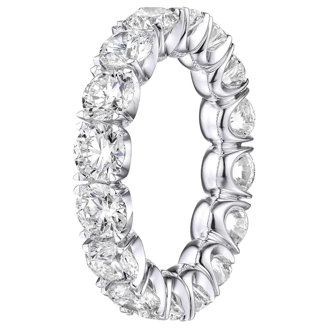 Brilliant Round 4.45 Carat Diamond Wedding Eternity Band Set in Platinum