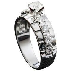 Brilliant Round Cut Diamond Engagement Ring in 18 Karat White Gold