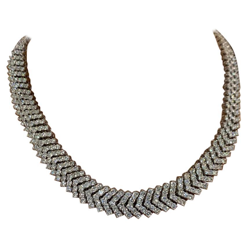 "Brilliant Round Cut ""V"" Shape Diamond Necklace"