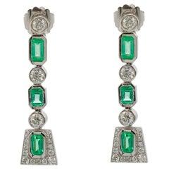 Brilliant Round Cut VS-S1/GH Color Diamond and 6 Carat Emerald Earrings Platinum